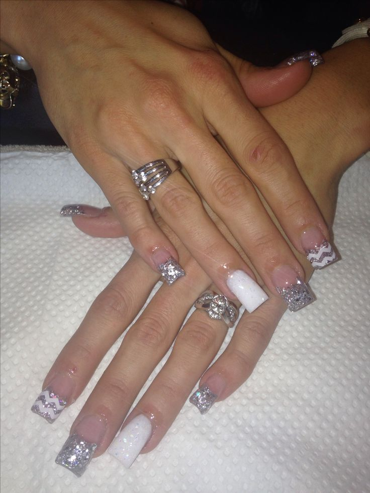 cute white and silver nails acrylic