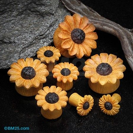 Classic Sunflower Jackfruit Wood Handcarved Ear Gauge Plug