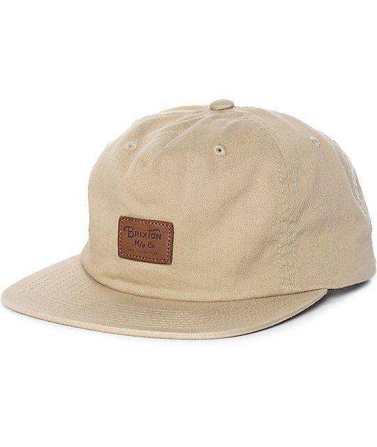 Brixton Grade II Unstructured Khaki Snapback Hat  e0d93dcc333