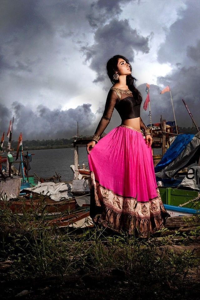 Black and pink lehnga for a trousseau: Dreams by Sapana Amin http://sapanaamin.com/