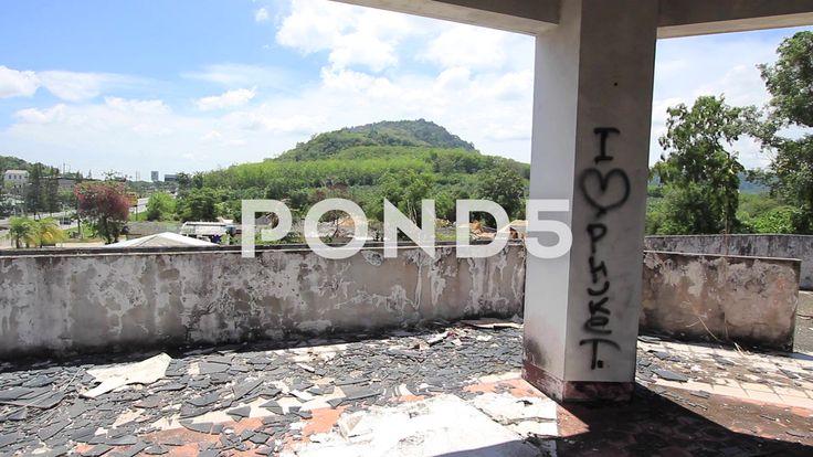 Abandoned Hotel Building Pillar Graffiti Lobby Broken Glass Mountain - Stock Footage | by RyanJonesFilms