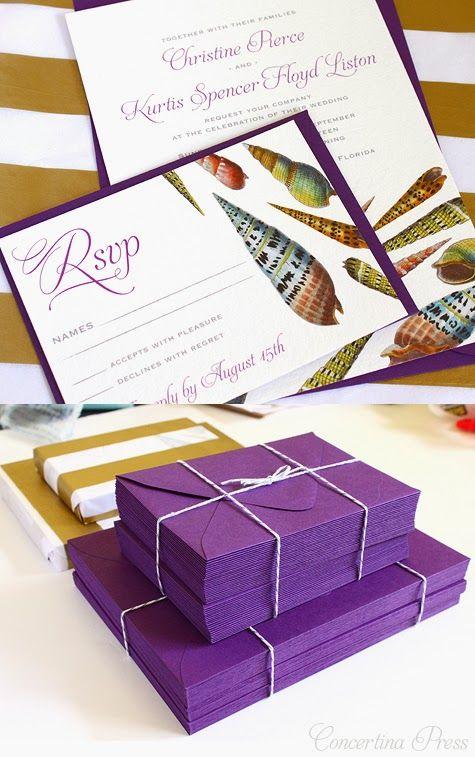Purple Seashell Wedding invitations - Concertina Press