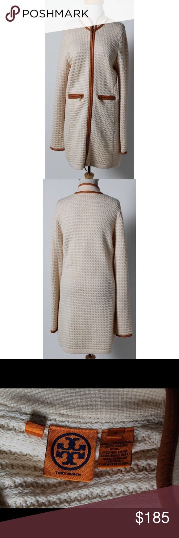 Tory Burch Merino Wool Leather Trim Sweater Jacket Luscious Tory Burch merino wool and leather trimmed sweater jacket. Absolutely gorgeous! Perfect for keeping cozy day to night. No stains, pulls or odors. Like new. Tory Burch Jackets & Coats