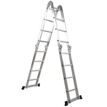 [RicardãoEscalando] Escada Articulada 4 x 4 em Alumínio 16 Degraus R$ 296,91