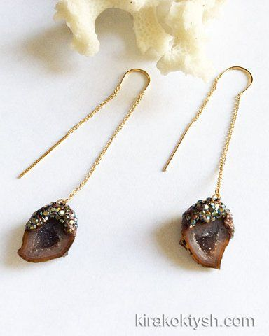 Kira Koktysh Jewelry Earrings (Materials: Tabasco geode druzy from Mexico, Swarovski crystals,  Gold-filled earwire) SOLD