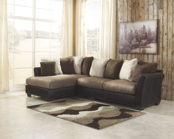 """The exciting two-tone contemporary design of the """"Masoli-Mocha"""" upholstery collection features soft upholstery fabric surrounding the plush supportive seat cushions beautifully accented by the brown f"""