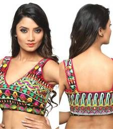 Buy Sleeveless blouse multicolor brocade readymade sleeveless-blouse online