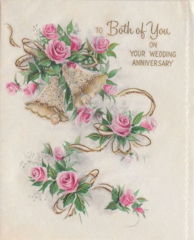 wedding anniversary greeting cardhusband%0A Vintage Glitter Bell and Pink Rose Wedding Anniversary Greeting Card