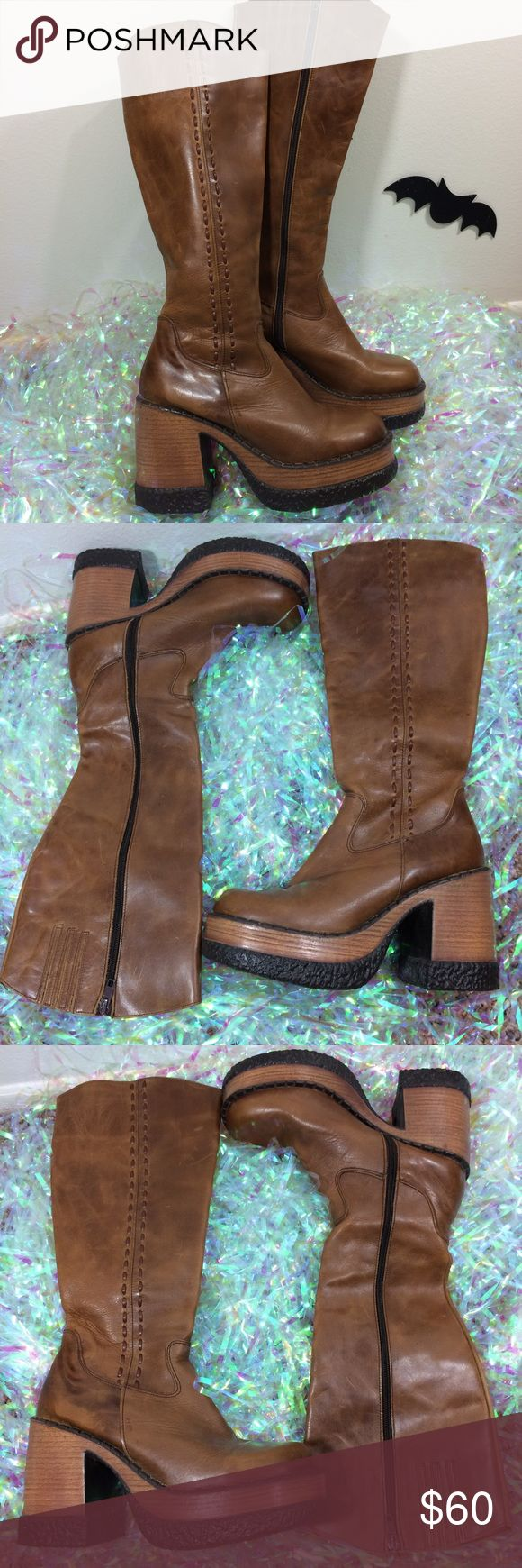 """Vintage London Underground Brown Leather Boots Vintage London Underground Tall Distressed Brown Leather Platform Heel Boots. Made in Spain 🇪🇸Marked 7. Signs of wear. Normal creasing.   Insole - 10.25"""" Heel - 4""""  *I'm not responsible for the fit of an item*  🚫 I don't discuss prices through comments, please use the offer button!  ⚡️ Same-day or next-day shipping 📬 All packages handled with care 📦 Bundle 2+ items for a discount 👽 Follow for new items & sale updates 🏡 Pet-free…"""