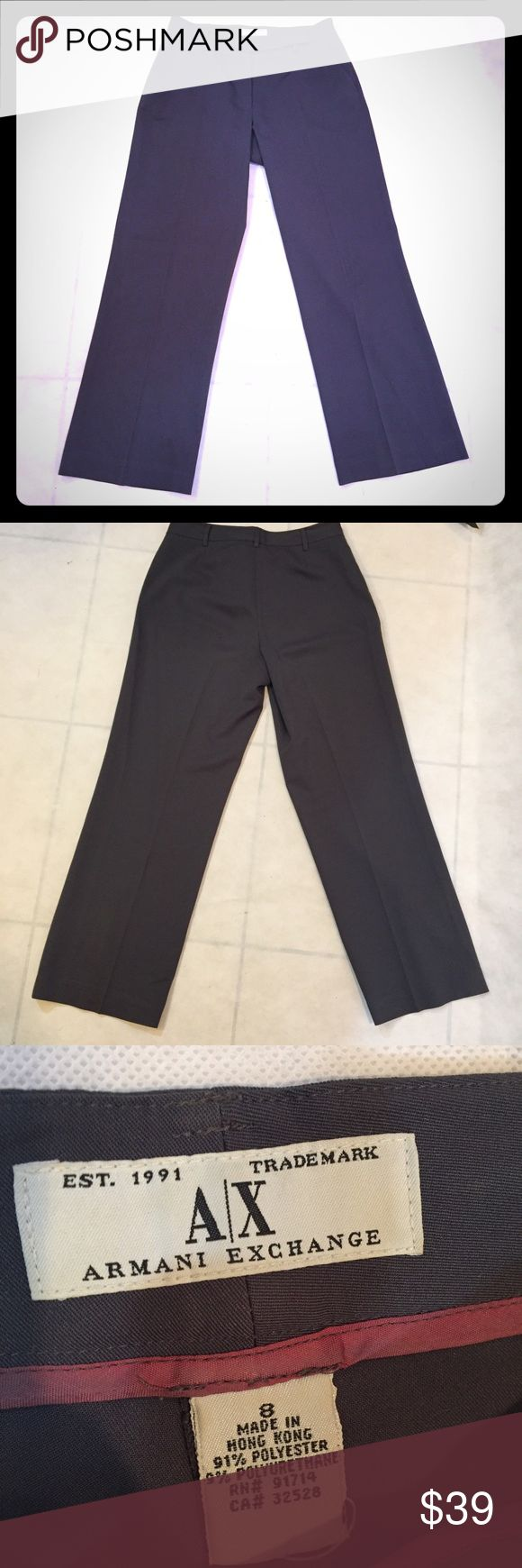 ARMANI EXCHANGE GREY WIDE LEG TROUSERS - sz. 8 These Armani Exchange Gray Trousers are gently loved with no signs of wear.  Wide-leg silhouette 91% Polyester, Lining: 94% Polyester,  Hand Wash Imported A/X Armani Exchange Pants Wide Leg