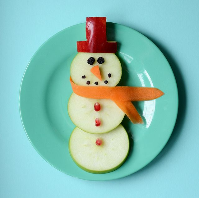 cutest snowman snack yet. Love the pomegranate seed buttons!!!