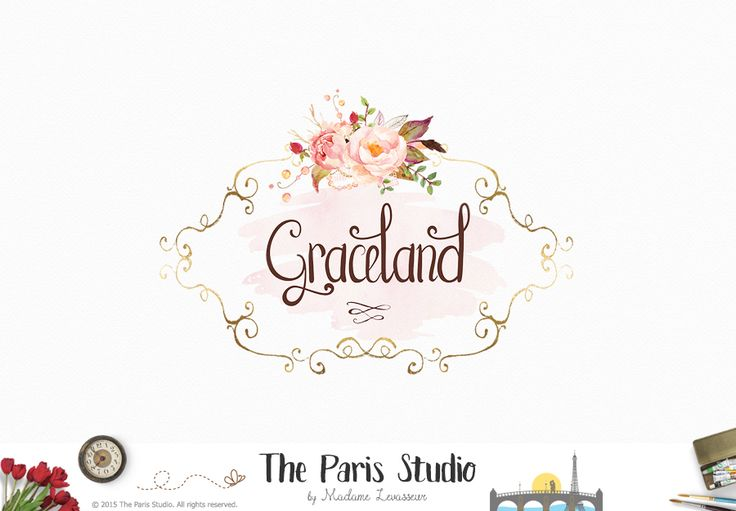 Vintage Floral Logo Design - beauty logo, spa logo, website logo, blog logo, boutique logo,