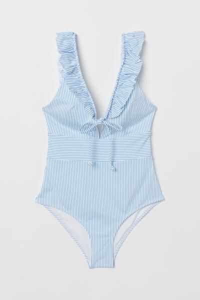 f8fa0e3a80bb8 Swimsuit with frills - Light blue/White striped - Ladies | H&M GB 5