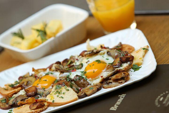 Eggs and Mushrooms by California Bakery