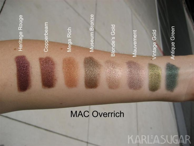 MAC, Overrich, pigment, swatches, Heritage Rouge, Copperbeam, Mega Rich, Museum Bronze, Blonde's Gold, Mauvement, Vintage Gold, Antique Green