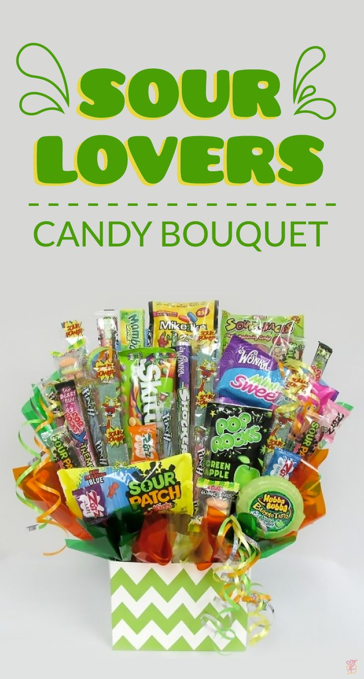 Sour Lovers Candy Bouquet. Perfect gift idea for those sour candy lovers. Kids and adults alike will love it. From Sour Patch, to sour Skittles, to sour Mike and Ikes, this candy bouquet has it all. Enjoy this sour candy bouquet with family and friends for a birthday, graduation, or any other fun event or celebration.