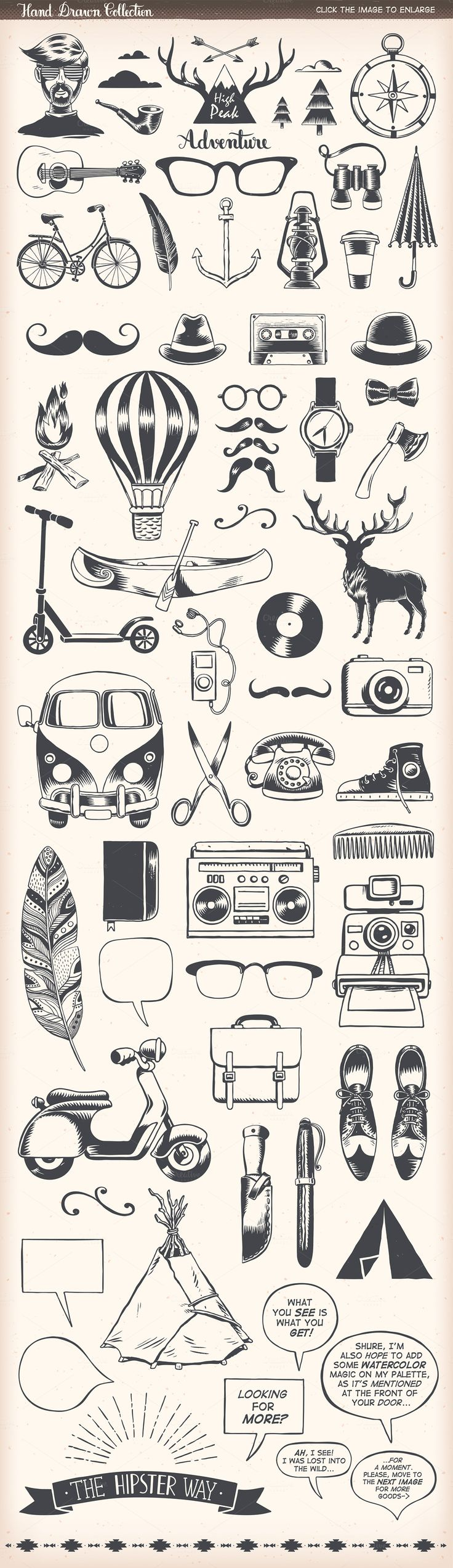 Hipster Vector Pack by Inkant Studio on @creativemarket