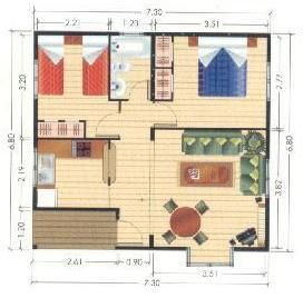 Plano de casa peque a casas peque as pinterest - Planos de casas con patio interior ...