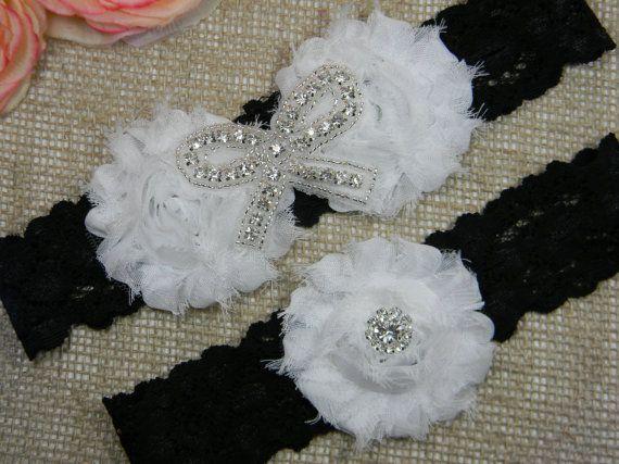 Black And White Wedding Garter Set Rhinestone Bow Toss Lace Shabby Flower Bridal Garters