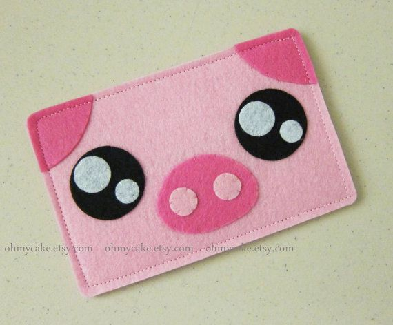 "iPhone sleeve, felt iPhone sleeve, iPhone case, felt iPhone case, iPhone bag, iPhone 5c sleeve, iPhone 5c case, iPhone 5 case, ""pink piggy"""