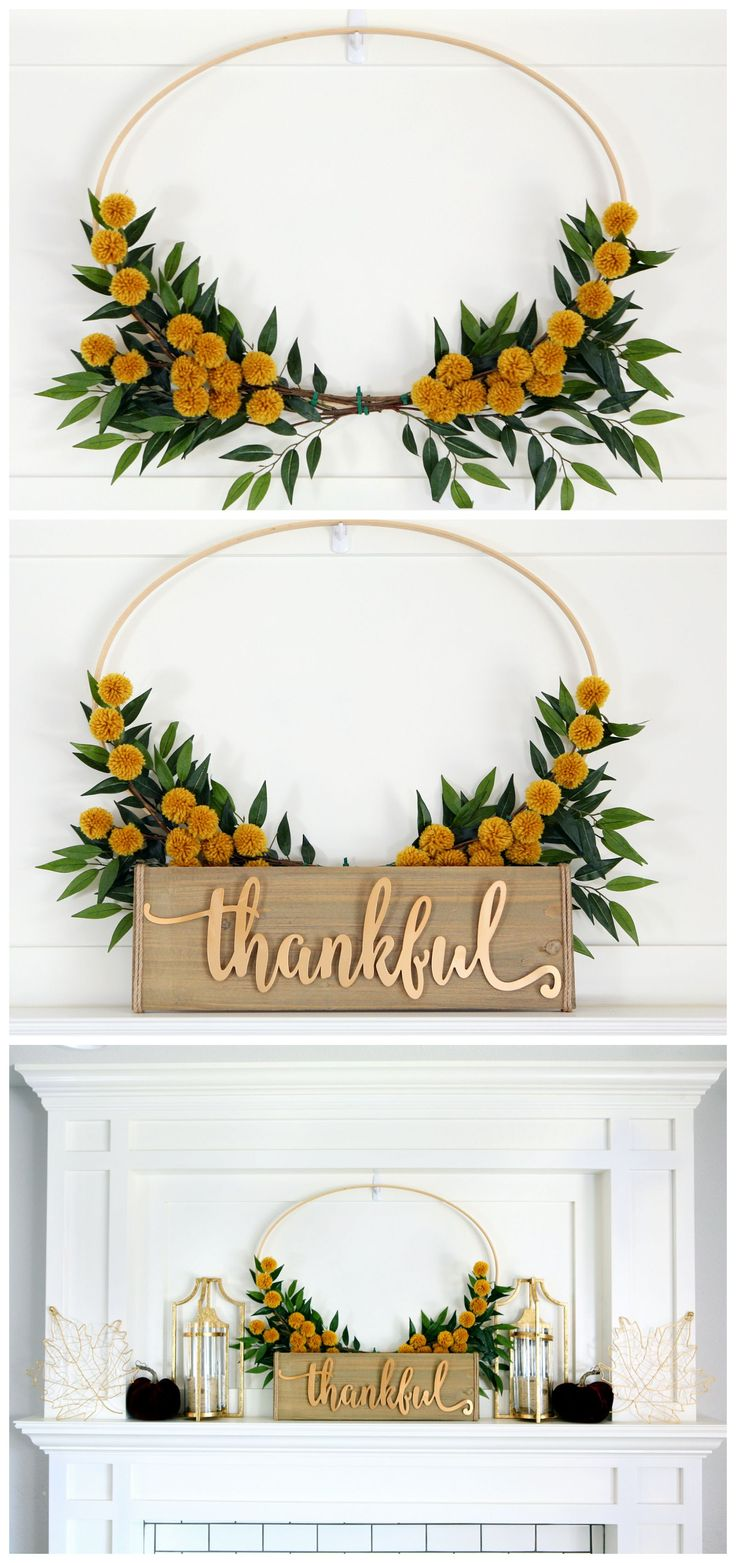 Pretty Fall Mantel - DIY Fall Mantel with Embroidery Hoop Wreath