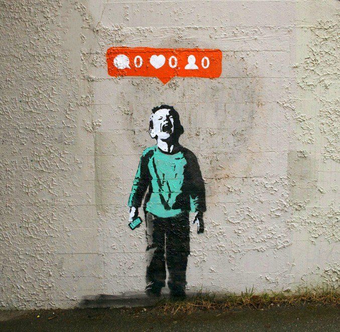 The picture shows a crying kid who is upset that he doesn't have any likes or follows or comments on instagram. This shows how kids are being raised in a generation where social media is an important aspect of our lives, and if you don't look good on social media then you have failed. It's using more Juvenalian satire than Horatian.