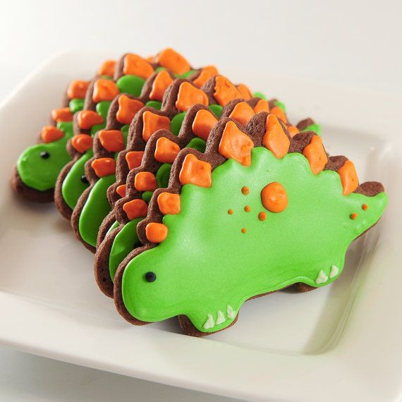 Stegosaurus Dinosaur Sugar Cookies by guiltyconfections on Etsy, $25.00