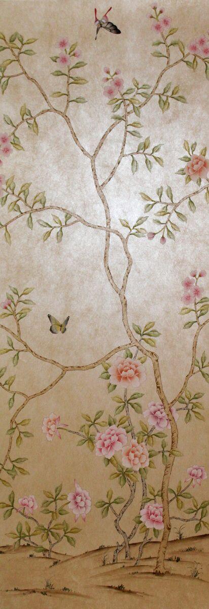 Klassieke stijl elegante handgeschilderde vliesbehang schilderen bloemen met vogels vele patronen en achtergrond optioneel