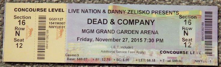 (GRATEFUL) DEAD & COMPANY ORIGINAL CONCERT USED TICKET,MGM VEGAS, NOV 27 2015