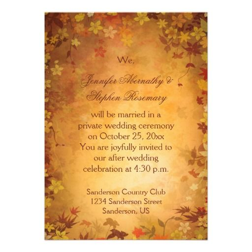 Autumn Leaves Reception Only Wedding Celebration Card