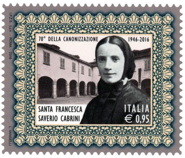 Francobollo commemorativo di Santa Francesca Saverio Cabrini, nel 70° anniversario della canonizzazione