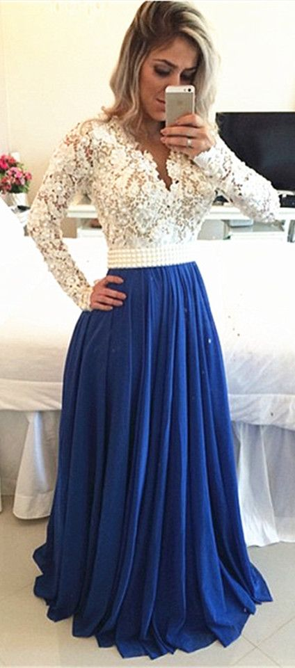 White Lace Top And Royal Blue Chiffon Bottom Perfect Long