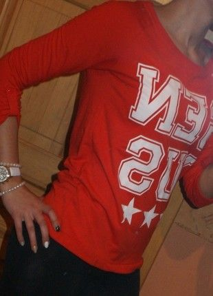 Kup mój przedmiot na #vintedpl http://www.vinted.pl/damska-odziez/bluzy/7291192-czerwona-bluza-college-marki-house