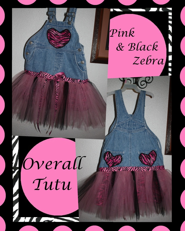 Pink & Black Zebra Overall Tutu Dress.  We can custom create an Overall Tutu in any color or size of your choice.  Send us a message on Etsy or Facebook.  (Prices vary depending on size needed.)  Price starts at $ 25                                                      Check us out on Etsy:  www.SassyPantsand...