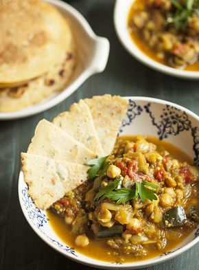 Eggplant, Tomato, and Chickpea Curry with Chickpea Rice Flatbread   Choosing Raw – vegan and raw recipes