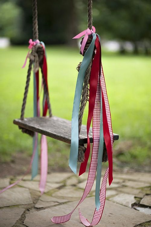 Tree swing with ribbons: Ideas, Swings, Ribbons, Outdoor, Backyard, Garden, Kid
