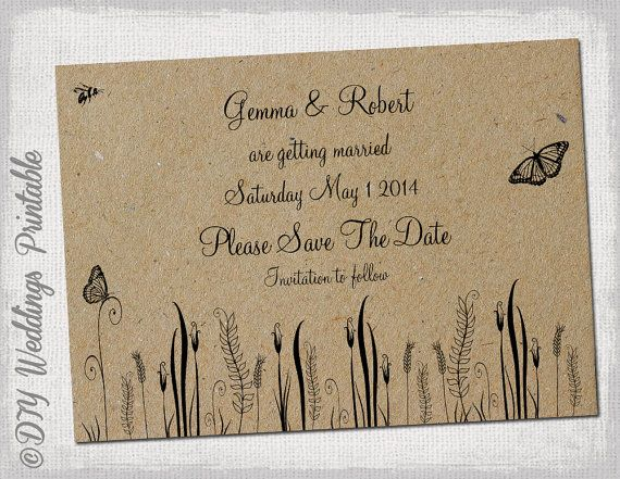 rustic save the date template rustic by diyweddingsprintable linda and jack forever. Black Bedroom Furniture Sets. Home Design Ideas