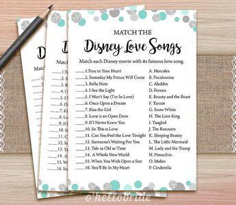 Disney amour chansons nuptiales de douche jeu - menthe imprimable douche nuptiale Turquoise amour chanson jeu - douche nuptiale - Bachelorette jeux 005