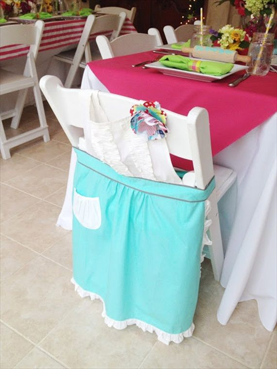 Kitchen Bridal Shower - apron for bride's chair