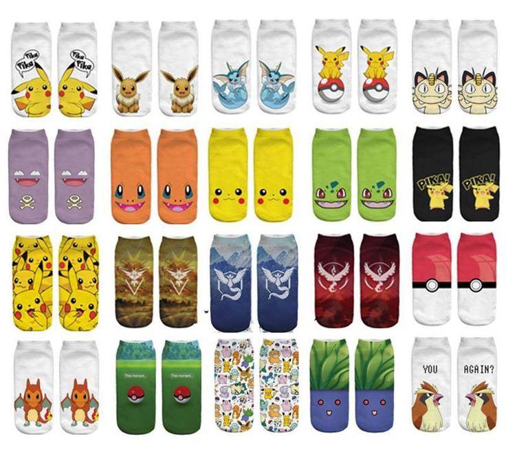 2016 Yeni Varış Kawaii Harajuku Pokemon Pikachu Çorap 3D Baskılı Karikatür kadın Low Cut Ayak Bileği Çorap Yenilik Rahat Çorap Meias