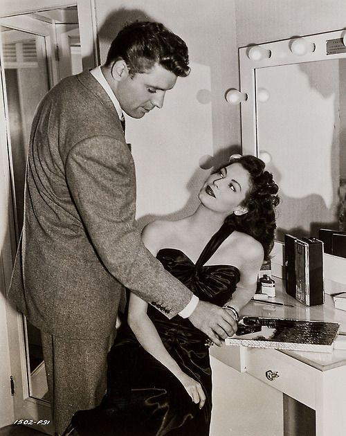"Burt Lancaster and Ava Gardner 1946 in the dressing room during the filming of ""The Killers"""