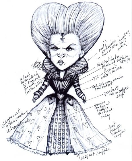 Colleen Atwood's sketch for the queen of hearts in Tim burton's Alice in Wonderland. <3Burton Alice, Wonderland Costumes, Red Queens, Colleen Atwood, Alice In Wonderland, Queen Of Hearts, Tim Burton, Queens Of Heart, Atwood Sketches