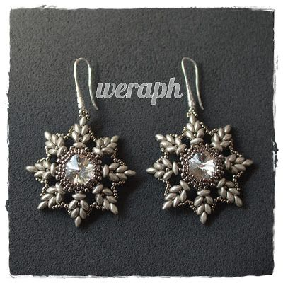Earrings with swarovski crystal and superduo beads