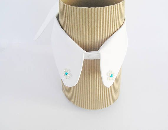 Beaded white collar Womens adjustable detachable embroidered