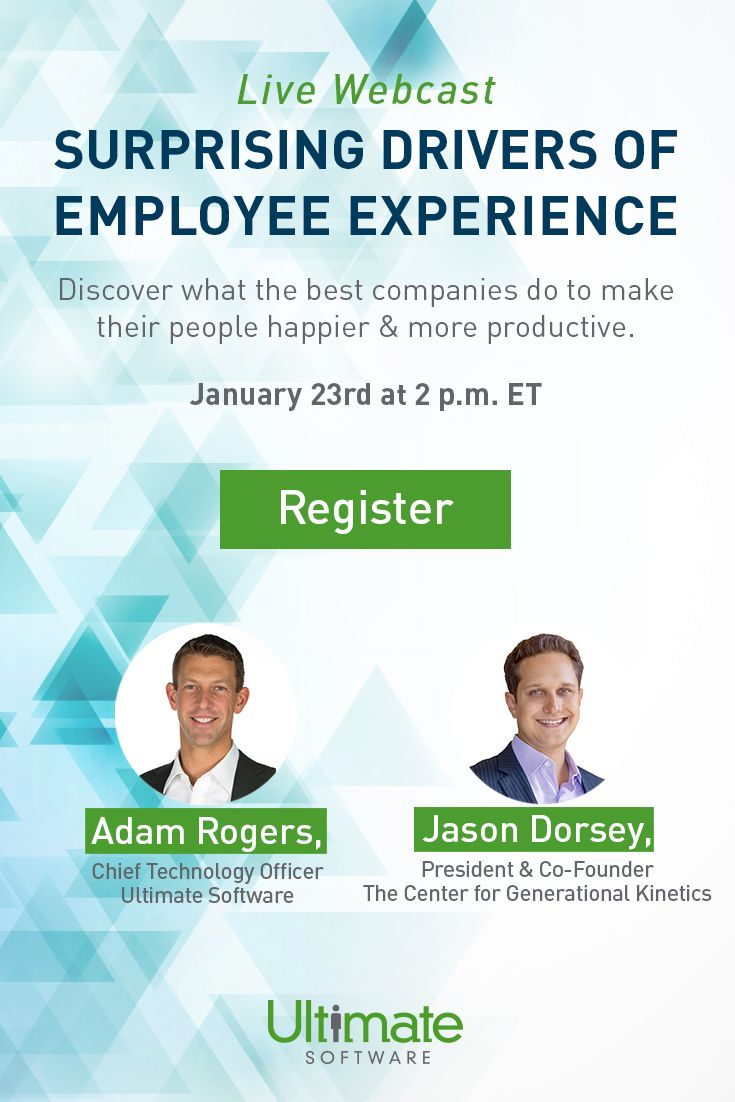 Tune in to our live webcast on January 23rd to learn about six new motivators of employee satisfaction. Register now! http://ulti.pro/2kdixwv