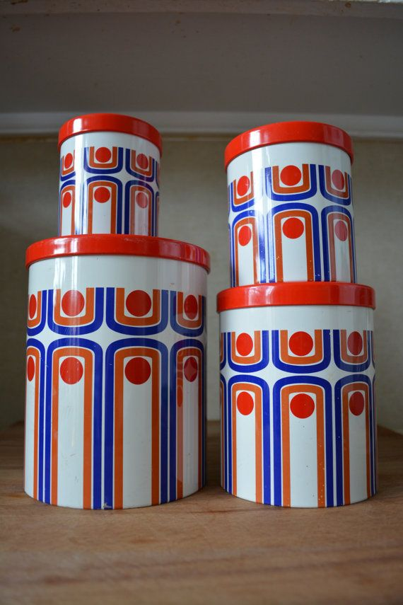 Vintage Retro Set of Four Nesting Tin Canisters by catbedoven, $35.00