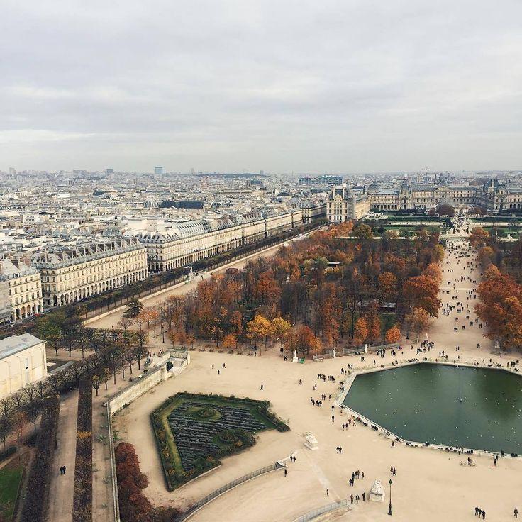 Jardin des Tuileries et Rue de Rivoli, probablement du haut de la Grande Roue de laPlace de la Concorde.