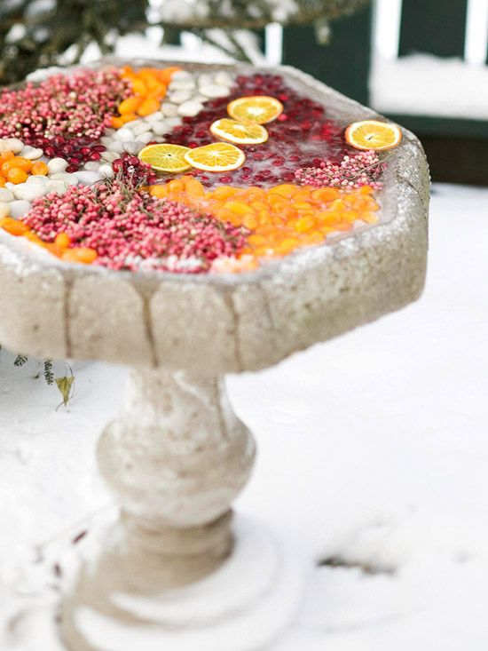 Fruit-Filled Birdbath - what a great idea! Fill your birdbath with colorful fruits and berries before the freezing weather comes! http://www.bhg.com/christmas/outdoor-decorations/outdoor-holiday-decorating-ideas/#