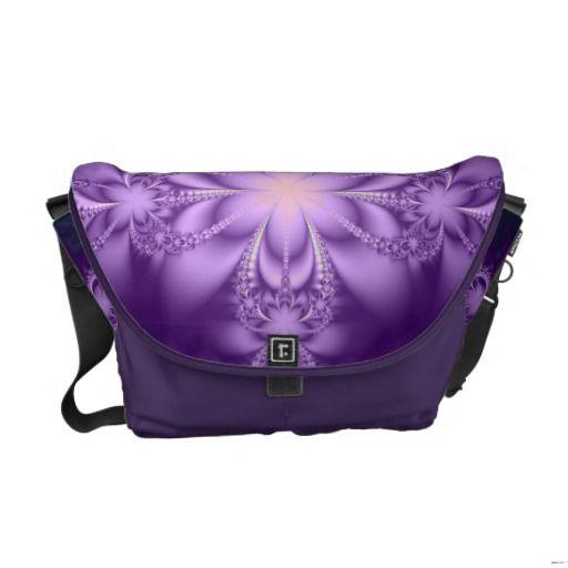 Purple butterflower messenger bags