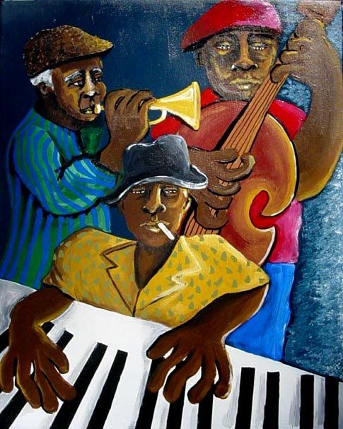 Blues Jazz musiciens musique afro-américaine abstraite Folk Art peinture originale